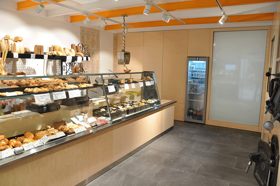 The interior of the new bakery